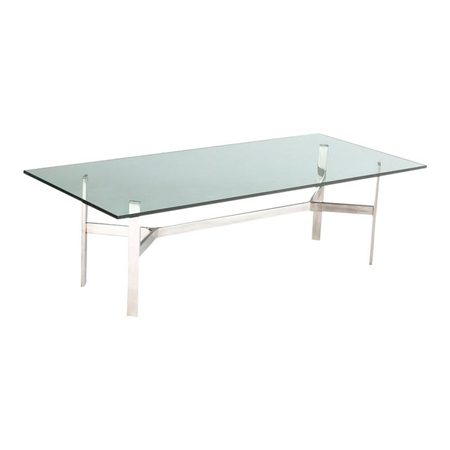 Rectangular Nickel and Glass Coffee Table For Sale