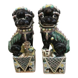 19th Century Chinese Qing Dynasty Foo Dogs - a Pair For Sale