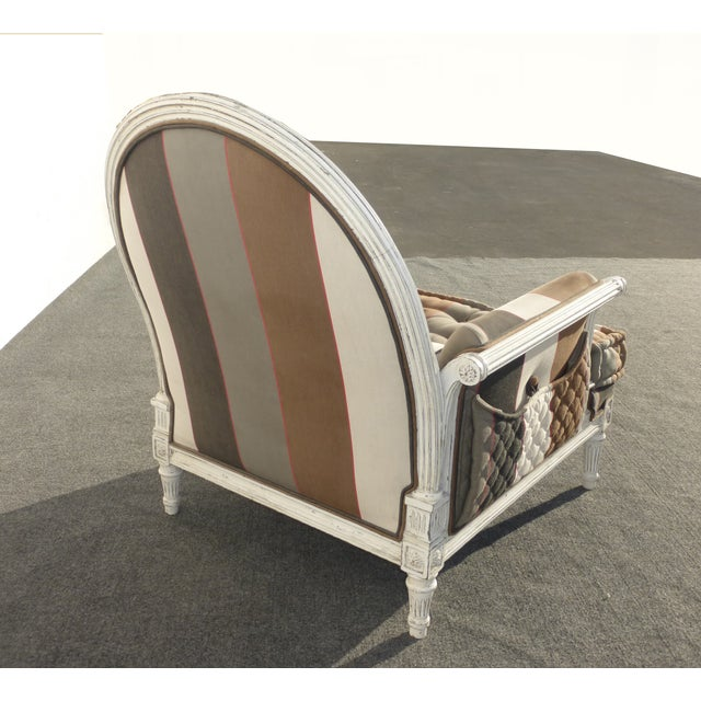 French Provincial Striped Upholstery Arm Chair - Image 5 of 11
