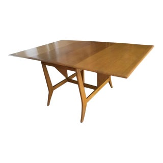 Heywood Wakefield Mid-Century Modern Butterfly Drop Leaf Wood Dining Table For Sale