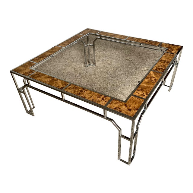 Chrome and Burl Wood Chippendale Style Square Coffee Table For Sale