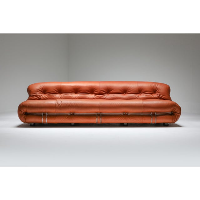 Cassina 1970s Cassina Soriana Cognac Leather Sofa by Afra and Tobia Scarpa For Sale - Image 4 of 11
