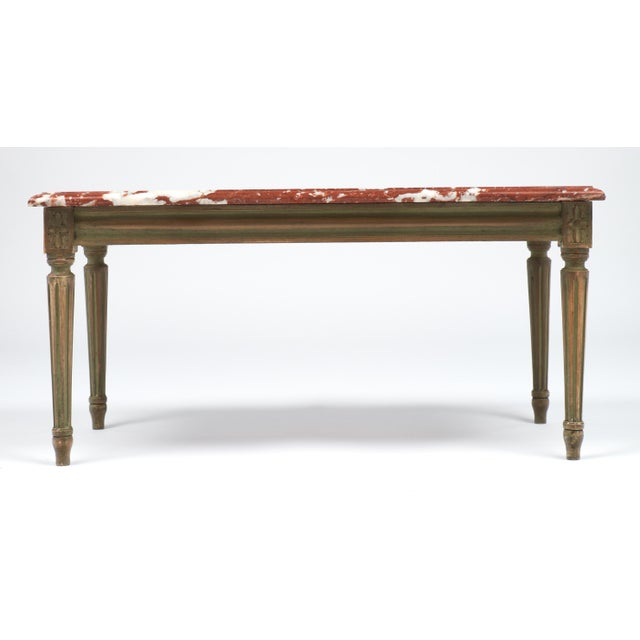 """Louis Xvi Marble Coffee Table: """"Rouge Royal"""" Marble-Topped Louis XVI Style Coffee Table"""