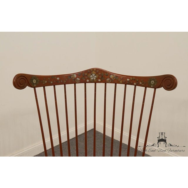 Late 20th Century 20th Century Traditional Ethan Allen Hitchcock Stenciled High Back Windsor Accent Chair For Sale - Image 5 of 13