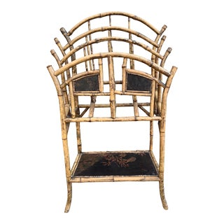 Antique English Bamboo Magazine Rack For Sale