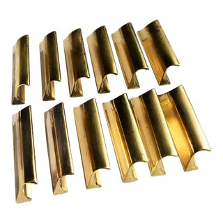 Vintage Gold Sherle Wagner Cabinet Drawer Edge Pulls - Set of 12 (36 Available) Circa 1970 For Sale