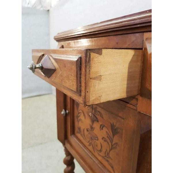 Stone Antique French Vanity Armoire Barley Twist Stand Desk With Marble Top For Sale - Image 7 of 13