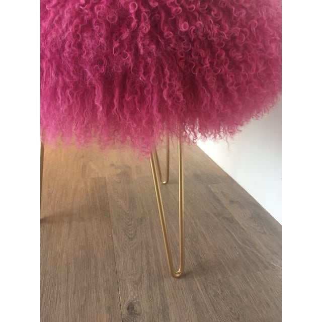Genuine Mongolian lamb stool. Hot pink in color. Custom made. These stools can be made in a variety of colors. Gold metal...