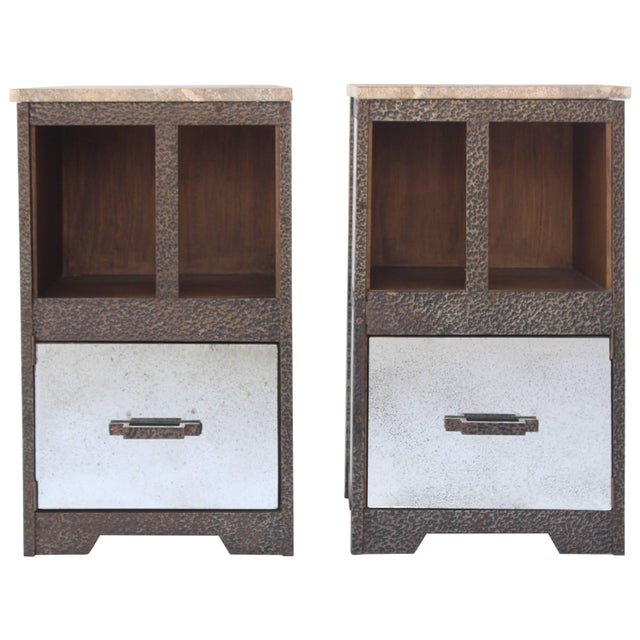 Pair of Iron and Antiqued Mirror End Tables With Limestone Tops For Sale - Image 11 of 11