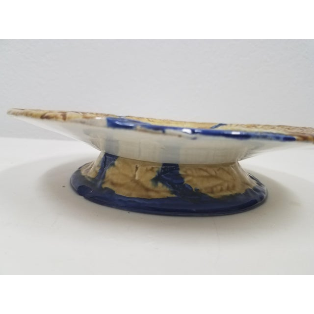 Antique English Majolica Pedestal / Compote For Sale - Image 4 of 10