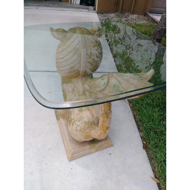 Palm Beach Regency Monumental Lion Foo Dog Glass Top Side Table For Sale In West Palm - Image 6 of 8