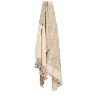 Handspun Wool Throw in Ivory and Black in Monsoon For Sale