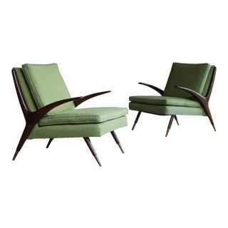 1950s Vintage Karpen of California Lounge Chairs- A Pair For Sale