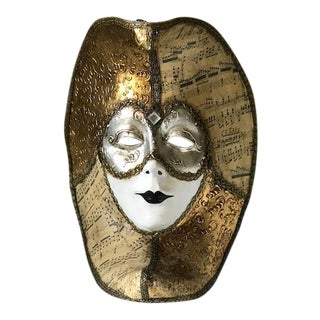 20th Century Renaissance Venetian Gold Paper Mache Mask For Sale
