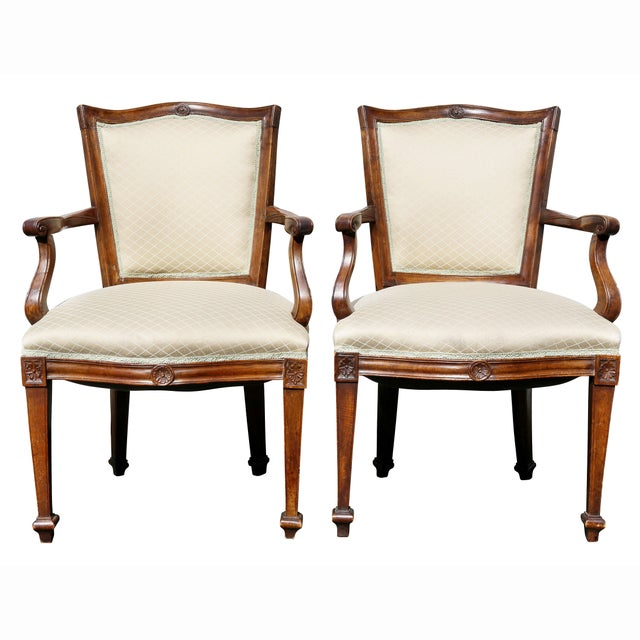 Late 18th Century Pair of Italian Neoclassic Walnut Armchairs For Sale - Image 5 of 13