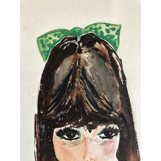 "Mid-Century Modern ""Flip and Green Bow"" Painting of Young Girl For Sale"