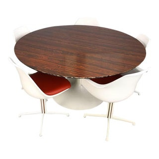 Burke Dining Set With Rosewood Tulip Table For Sale