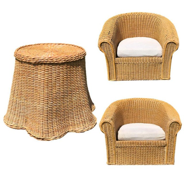Round Wicker Bamboo Rattan Trompe l'Oeil Ghost or Draped Lounge Set 3 Pieces 1970s For Sale - Image 12 of 12