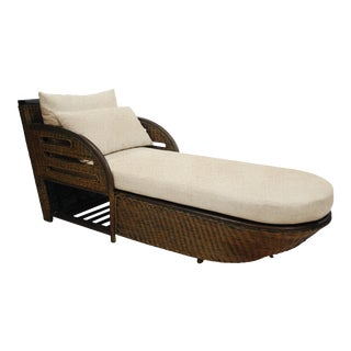 Captains Chaise, Yellow, Rattan For Sale