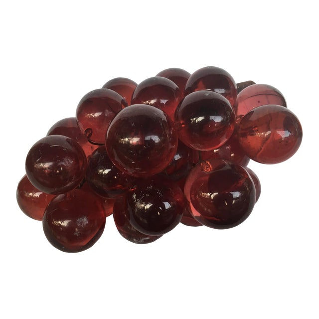 1960's Bunch of Lucite Ruby Red Grapes For Sale