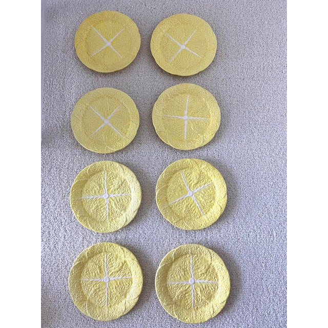 1970s Vintage Yellow Cabbage Leaf Plates Set/8 For Sale - Image 5 of 5