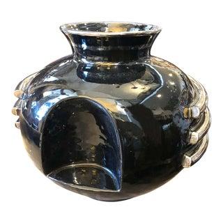 1930s Italian Art Deco Deruta Black and Silver Ceramic Vase For Sale