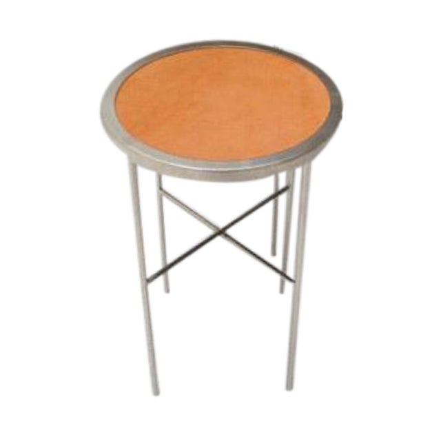 Saddle Leather Topped End Table For Sale