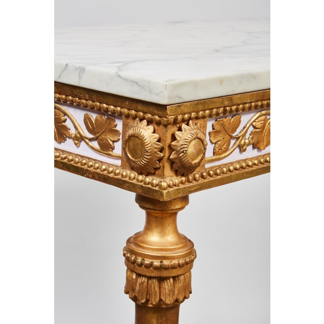 1790's Swedish White Marble and Gilded Console and Mirror For Sale In Los Angeles - Image 6 of 10