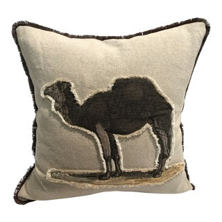 Safari Camel Linen & Cotton Appplique Quilted Zoo Animal Design Legacy Kelly O'Neal Pillow Nursery For Sale