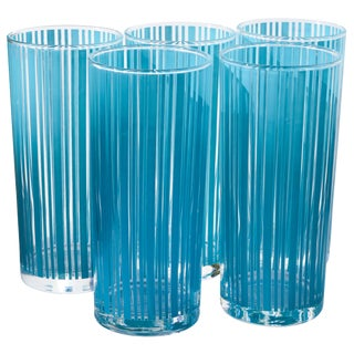 Midcentury Blue-Striped Highball Glasses- S/5 For Sale