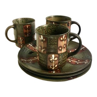 Hand Painted Ceramic Mugs with Matching Plates - Set of 3 For Sale