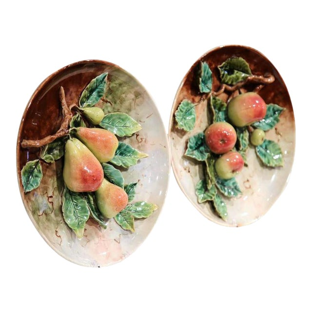19th Century French Hand-Painted Barbotine Plates With Apples and Pears - a Pair For Sale