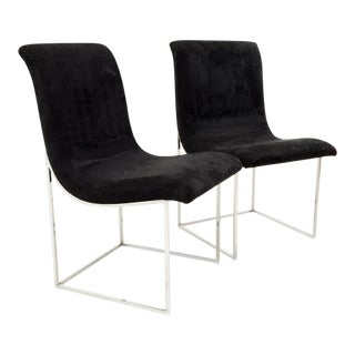 Milo Baughman for Directional Mid Century Black Velvet Chrome Base Lounge Chairs - a Pair For Sale