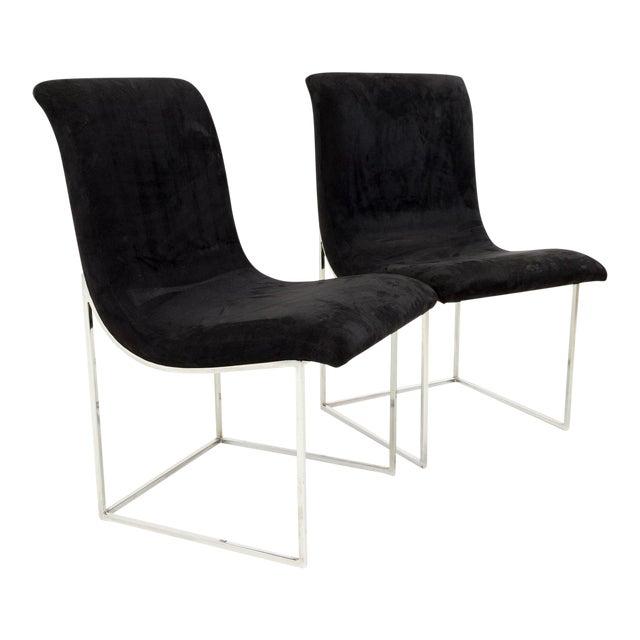 Milo Baughman for Directional Mid Century Black Velvet Chrome Base Lounge Chairs - a Pair For Sale