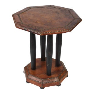 Antique Octagonal Brown Leather Studded Side Table For Sale