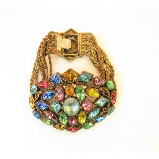 Metal Czech Art Deco Jewel-Tone Bohemian Crystal & Chains Bracelet 1920s For Sale - Image 7 of 13