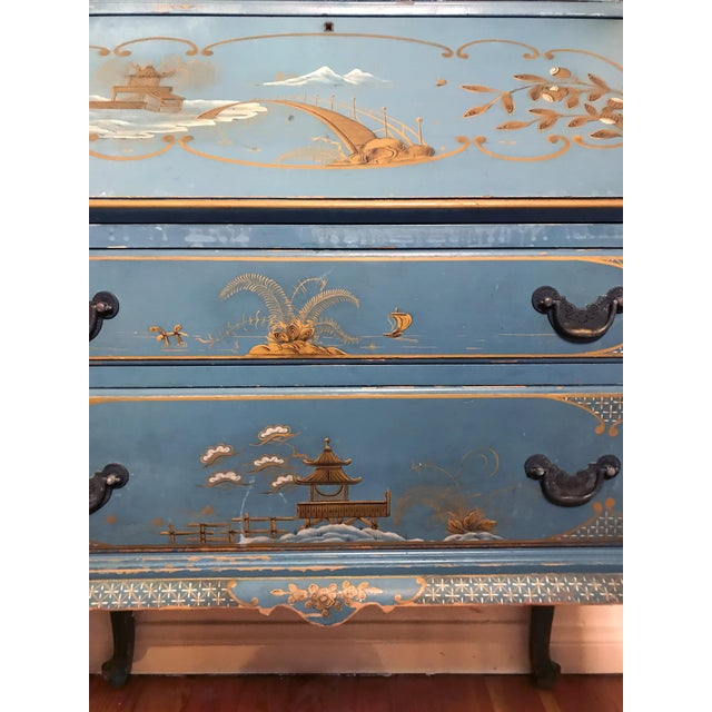 Mid Century Hand Painted Chinoiserie Blue Secretary Desk For Sale - Image 4 of 12