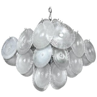 Mazzega Vistosi Murano Iridescent Disc Glass Chandelier For Sale