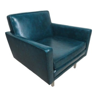 Beautiful Vintage Modern Green Vinyl Lounge Chair For Sale