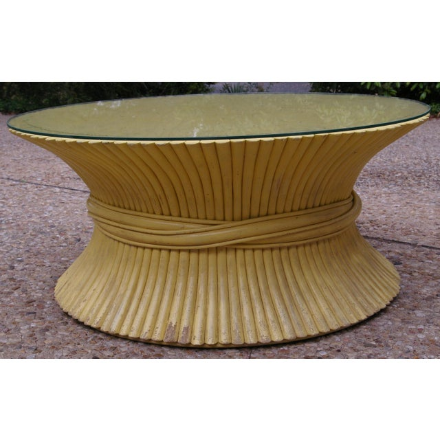 McGuire Wheat Sheaf Rattan Low Table - Image 2 of 4