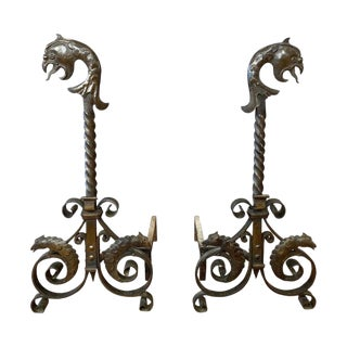 Pair of Tall Wrought Iron Andirons With Parrot and Chameleon Motif, Circa 1880 For Sale