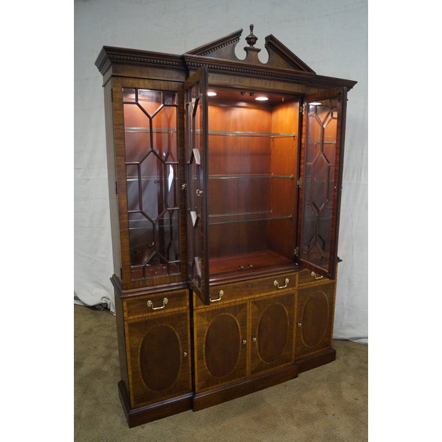 Councill Craftsman Inlaid Flame Mahogany Breakfront Bookcase For Sale - Image 9 of 10