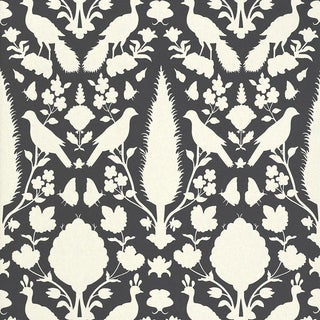 Sample - Schumacher Chenonceau Damask Wallpaper in Charcoal For Sale