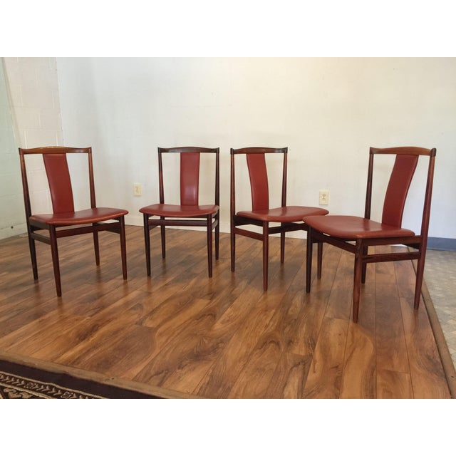 Danish Modern Henning Sorensen Rosewood & Leather Dining Chairs - Set of 4 For Sale - Image 3 of 11