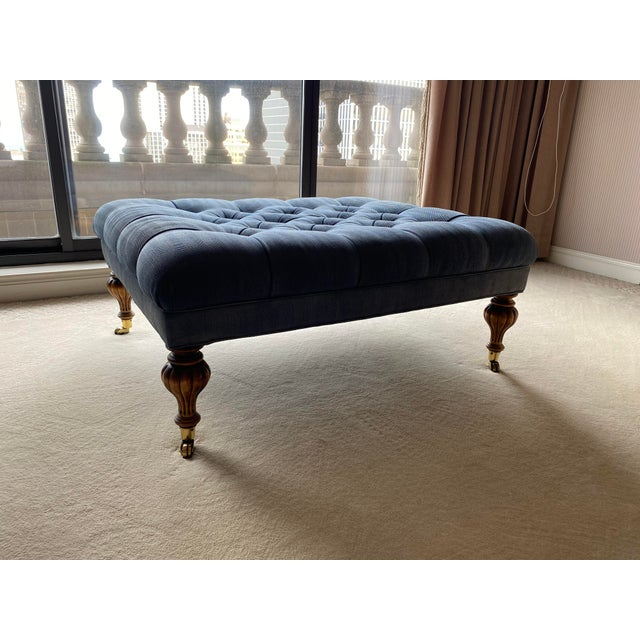 Vintage Periwinkle Blue Robert Allen Upholstery Ottoman For Sale - Image 12 of 12