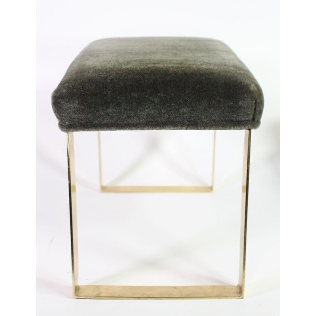 Contemporary Hollywood Regency Brass & Vintage Sage Green Alpaca Mohair Bench - Small For Sale - Image 3 of 8
