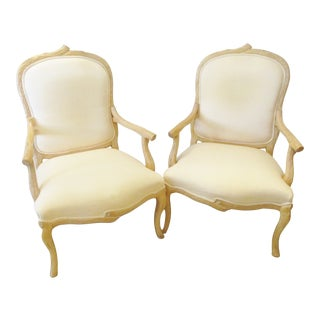 1960s Vintage Faux Bois Carved Wood Armchairs by Weiman - a Pair For Sale