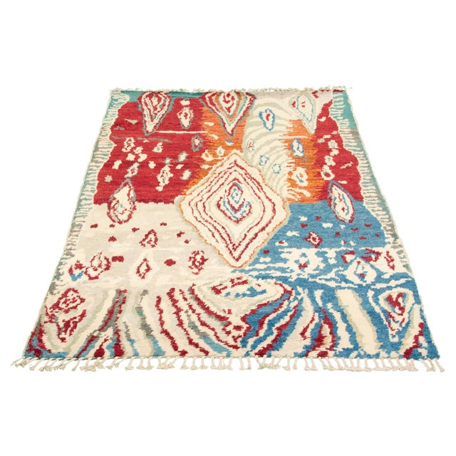 """Red Hand-Knotted Rug, 5'8"""" X 9'2"""" For Sale - Image 8 of 9"""