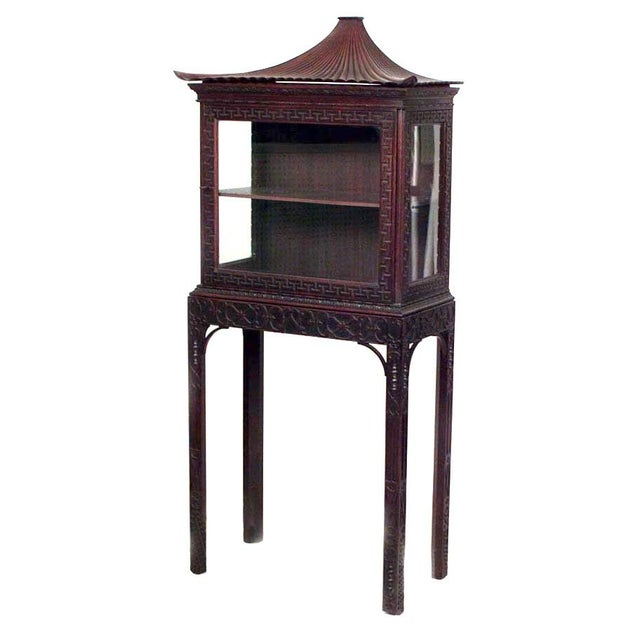 English Chinese Chippendale style (19th Cent) mahogany curio (display) cabinet with pagoda top.