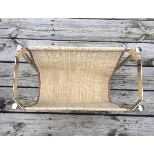 Mid-Century Modern Brass Faux Bamboo Magazine Rack For Sale - Image 3 of 9